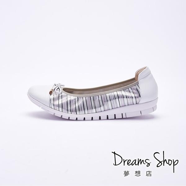 大尺碼女鞋 夢想店 MIT台灣製造金屬條紋蝴蝶結真皮娃娃鞋2.5cm(41-45)【PW2120】銀色