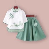 兒童漢服夏裝女童中國風童裝夏季民國風古裝女孩旗袍裙唐裝套裝夏6 幸福第一站