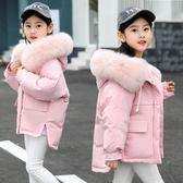 雙十二狂歡 兒童羽絨服女童2018新款冬裝女孩加厚大毛領保暖寶寶童裝外套 挪威森林