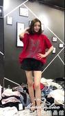 新款半高領大版針織衫亮絲金絲線雪花短袖寬鬆韓版套頭毛衣女「夢娜麗莎精品館」