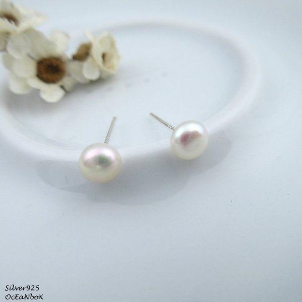 ☆§海洋盒子§☆5mm~漂亮天然珍珠耳環(小)《針式貼耳925純銀耳環》
