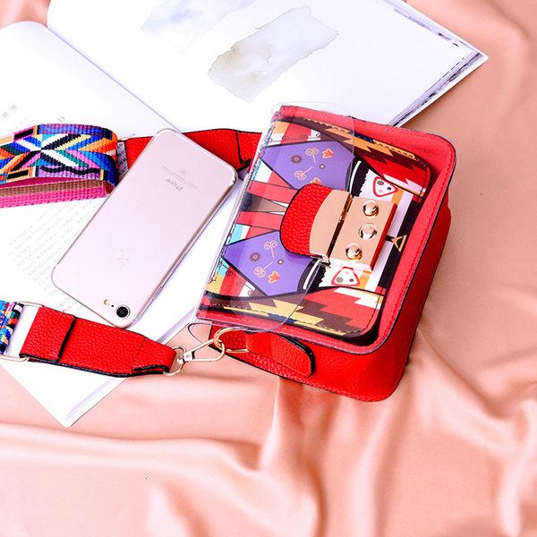 2019夏季新款韓版透明小方包時尚百搭定型單肩斜跨手機包