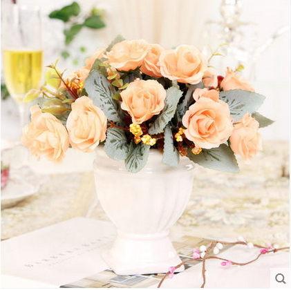 F0753 歐式家居餐桌桌面擺設絹花台面裝飾假花 小羅馬柱仿真花套裝(1套)