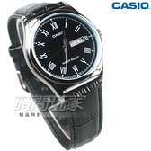 CASIO卡西歐 MTP-V006L-1B 休閒時尚簡潔大方 羅馬時刻 真皮 防水 男錶 黑色 MTP-V006L-1BUDF