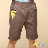 Azio 男童 短褲 造型口袋動物貼布休閒短褲(深卡其) Azio Kids 美國派 童裝