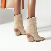 尖頭靴 短靴女秋中跟2020新款尖頭粗跟米色靴子女西部牛仔靴網紅騎士靴潮(速度出貨)