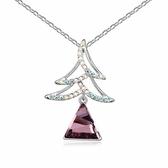 水晶項鍊+925純銀吊墜-聖誕樹造型情人節生日禮物女飾品3色73bb202【時尚巴黎】