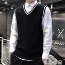秋季純棉男式毛衣背心韓版修身無袖針織衫學院風潮流時尚男裝衣服 雙12全館免運