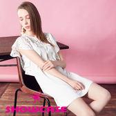 【SHOWCASE】清新甜美鏤空圓荷葉袖A字修身短版洋裝(白)