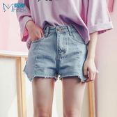 韓版高腰牛仔短褲女夏熱褲顯瘦不規則下擺