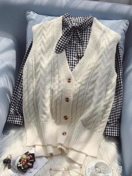 秋冬新款2018毛衣馬甲女寬鬆韓版短款V領針織衫背心外套無袖開衫 嬌糖小屋