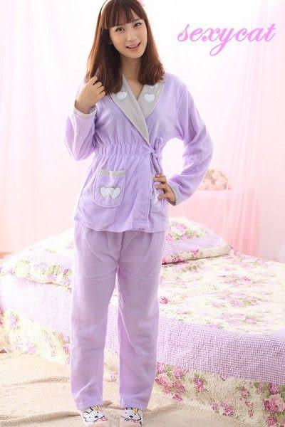 【Sexy cat】甜心寶貝 二件式睡衣/睡袍/居家服(浪漫紫)