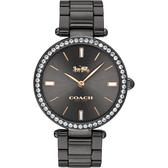 Coach 紐約 晶鑽時尚精品手錶-鐵灰/34mm CO14503424