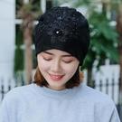 新款帽子蕾絲花朵帽子女春秋韓版夏季薄款防風帽堆堆帽月子套頭帽 店慶降價