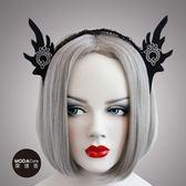 萬聖派對頭飾-哥德風黑色精靈耳蕾絲創意造型髮箍 ◆86小舖 ◆