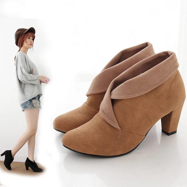 短靴 氣質麂皮交錯反折粗跟踝靴 香榭