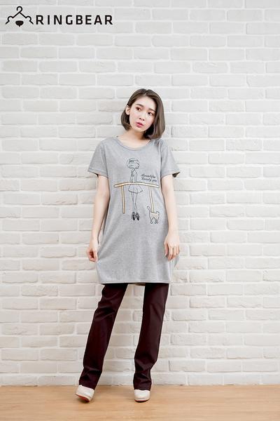 長版上衣--芭蕾女孩與小貓可愛印圖棉質舒適長版T恤(黑.灰XL-5L)-D281眼圈熊中大尺碼