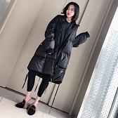 羽絨夾克-白鴨絨-黑色立領寬鬆過膝女外套73zc38【時尚巴黎】