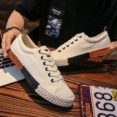 夏季新款帆布鞋男學生韓版百搭原宿風板鞋街拍港風休閒ulzzang鞋 卡布奇诺