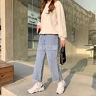 牛仔褲女闊腿直筒褲女學生韓版日系寬鬆顯瘦百搭老爹夏季薄款 快速出貨