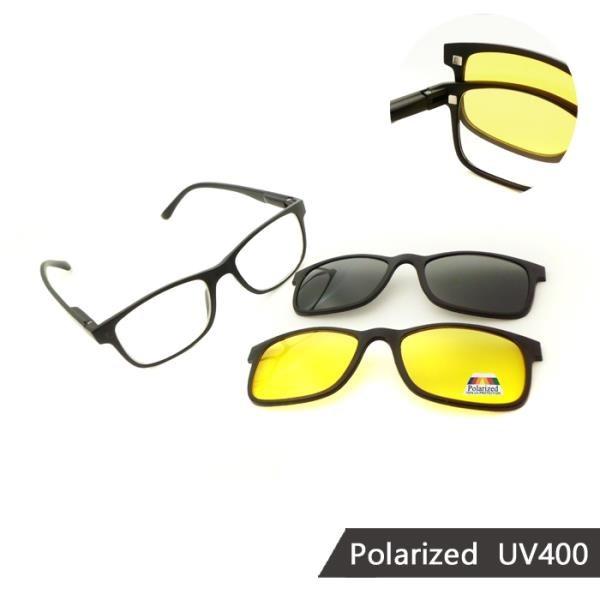 【南紡購物中心】【SUNS】磁吸式三件組 偏光墨鏡/太陽眼鏡 抗UV(91511)