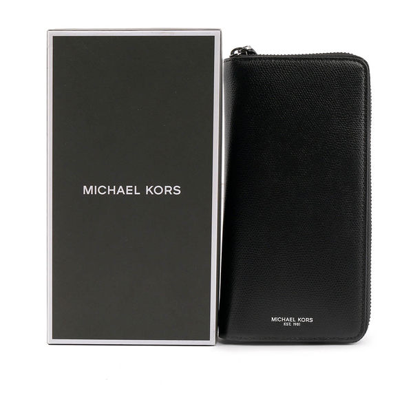 【MICHAEL KORS】防刮皮革直式ㄇ型拉鏈長夾(黑色) 36T7LWRE3L BLACK