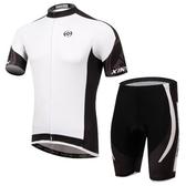 自行車衣-(短袖套裝)-簡約時尚排汗透氣男單車服套裝2色73er42【時尚巴黎】