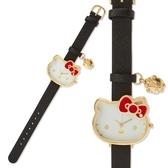 小禮堂 Hello Kitty 造型金框腕錶手錶 皮質手錶 休閒錶 淑女錶 (黑 大臉) 4550337-06562