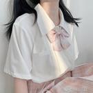 雪纺衫 醬果自制2020夏新款少女高中生風琴褶短袖口袋JK制服雪紡直筒襯衫 洛小仙女鞋