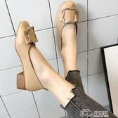 豆豆鞋 2019新款春季奶奶鞋粗跟單鞋韓版學生春秋百搭中跟豆豆鞋子女
