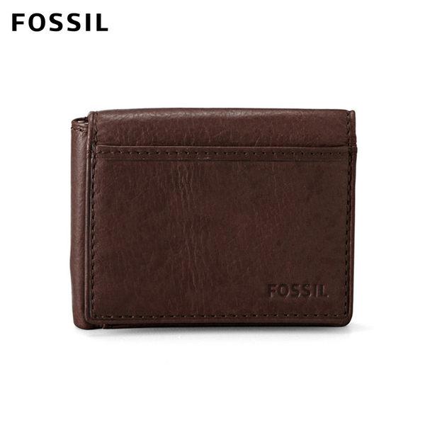 FOSSIL Ingram 深棕色真皮RFID短夾 男