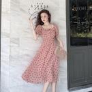 短袖洋裝 春秋2020新款韓版法式波點短袖連衣裙女裝氣質法式桔梗裙仙女裙子