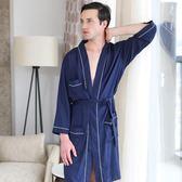 新款男士秋季浴袍薄中長款長袖睡袍情侶親膚舒適日式睡衣家居服 艾尚旗艦店