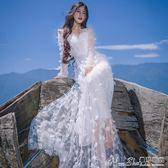 禮服2018新款花朵刺繡蕾絲長袖連身裙伴娘團姐妹裙宴會晚禮服長裙 曼莎時尚