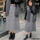 (現貨+預購FUWAFUWA)-加大尺碼格紋半身長裙