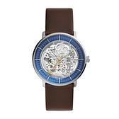 【Fossil】Chase鏤空機械時尚真皮摩登腕錶-低調藍/ME3162/台灣總代理公司貨享兩年保固