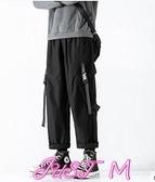 工裝褲休閒工裝褲男秋季褲子男韓版潮流百搭直筒褲男寬鬆闊腿束腳褲 JUST M
