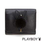 PLAYBOY- 短夾 跳躍毛毛兔系列-優雅黑