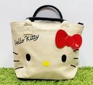 【震撼精品百貨】Hello Kitty 凱蒂貓~日本三麗鷗 kitty 編織手提袋/側背包-大臉#29611