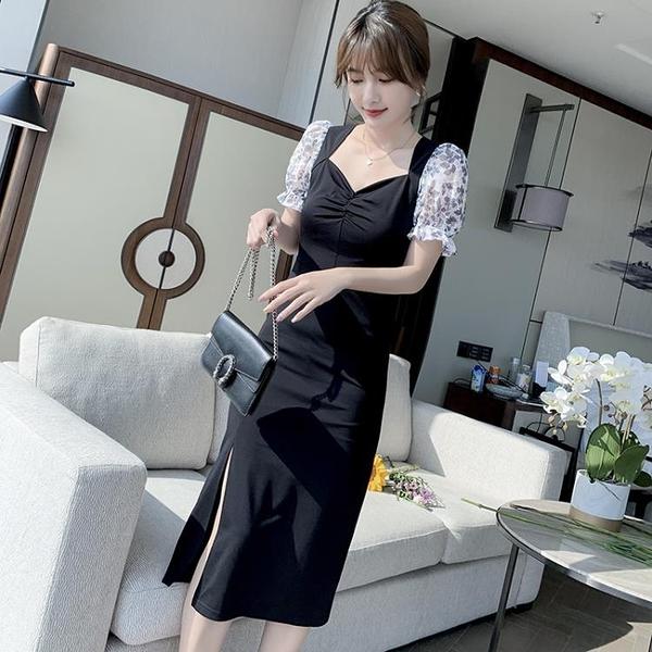 小洋裝 ins風氣質方領顯瘦裙子法式泡泡袖修身連身裙女N718快時尚