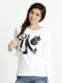 BOBSON 女款印水長袖上衣(白32139-01)