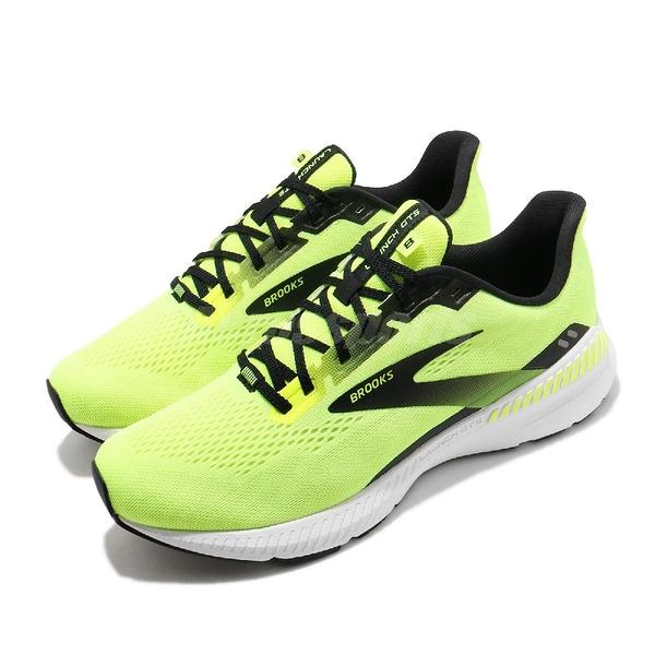 Brooks 慢跑鞋 Launch GTS 8 2E Wide 寬楦頭 黃 黑 男鞋 運動鞋 發射系列 DNA科技【ACS】 1103592E774