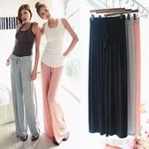 夏寬鬆大碼闊腿褲裙褲莫代爾薄款運動瑜伽家居褲大擺長褲子『小宅妮時尚』