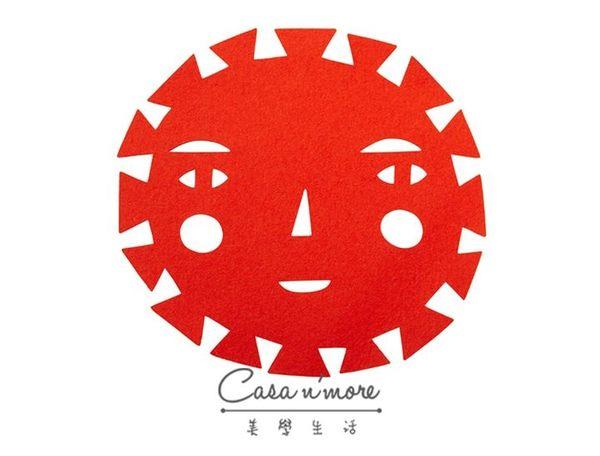 Donna Wilson 太陽公公 大太陽 羊毛氈 隔熱墊 26x27 cm 紅色