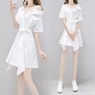 襯衫洋裝 一字肩連身裙女夏顯瘦襯衫裙氣質夏季超仙吊帶裙子性感-Ballet朵朵