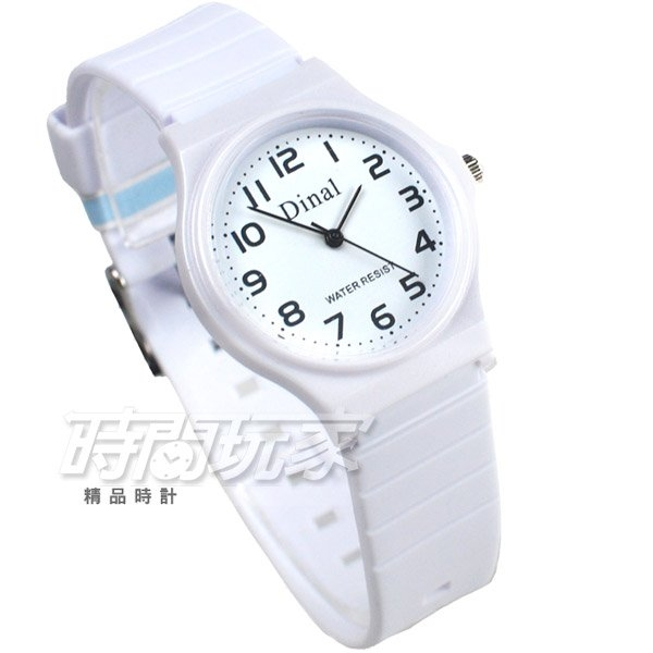 Dinal 時尚數字 簡單腕錶 防水手錶 數字錶 女錶 男錶 學生錶 白色 D1307白