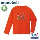 【Mont-Bell 日本 童 WIC.T L/S CAMPING 長袖排汗T恤 《橙紅》】1114259/排汗衣/圓領衫