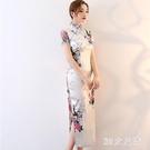 顯瘦旗袍春季性感復古改良版刺繡拉鏈長款女...