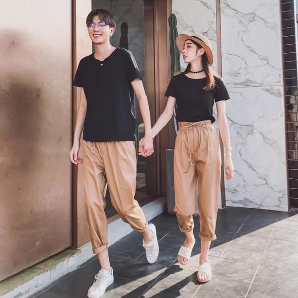 情侶裝 情侶裝夏裝套裝2018新款韓版七分褲短袖T恤上衣潮流情侶款氣質潮 彩希精品鞋包