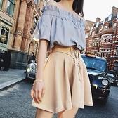 一字领洋装 網紅chic夏裝新款一字領露肩上衣A字半身裙時尚兩件套裝洋裝女